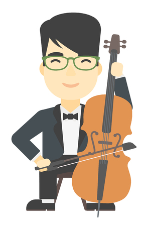 soloist: An asian man playing cello vector flat design illustration isolated on white background.