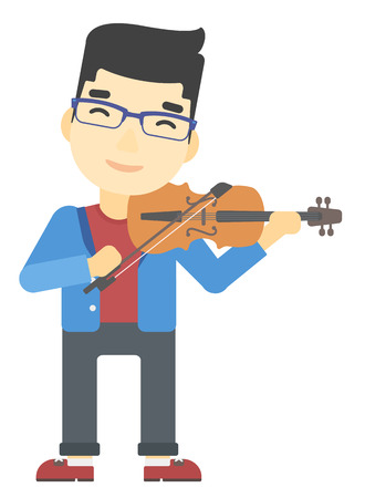 An asian man playing violin vector flat design illustration isolated on white background.