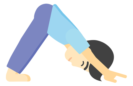An asian man standing in yoga downward facing dog pose vector flat design illustration isolated on white background.