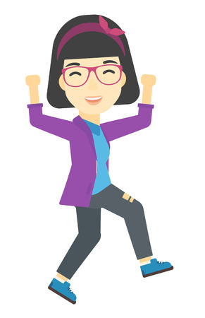 woman jump: An asian business woman running vector flat design illustration isolated on white background. Illustration