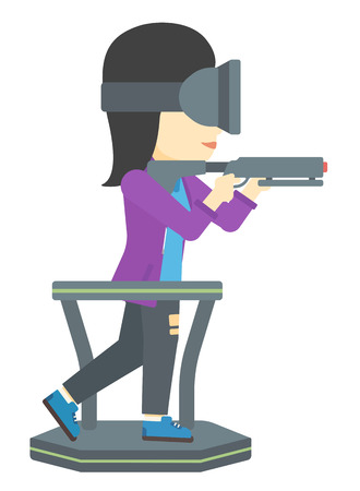 An asian woman wearing virtual reality headset and standing on a treadmill with a gun in hands vector flat design illustration isolated on white background. Illusztráció