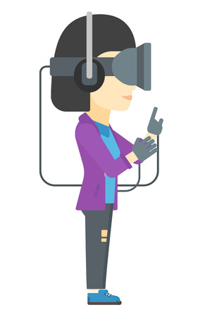 VIRTUAL REALITY: An asian woman wearing a virtual relaity headset vector flat design illustration isolated on white background. Illustration