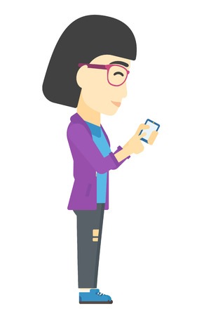 An asian business woman using mobile phone vector flat design illustration isolated on white background.