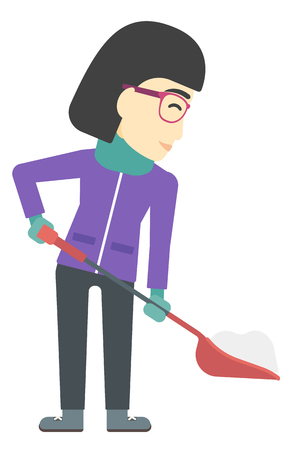 removing: An asian woman shoveling and removing snow vector flat design illustration isolated on white background.