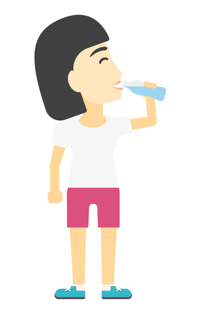sportive: An asian sportive woman drinking water vector flat design illustration isolated on white background.