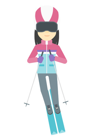 mountainside: An asian woman skiing vector flat design illustration isolated on white background.