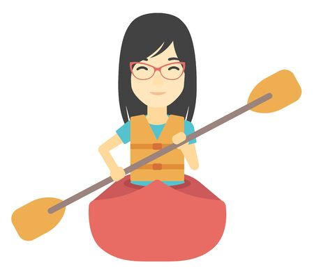 An asian woman riding in a canoe vector flat design illustration isolated on white background. Ilustrace