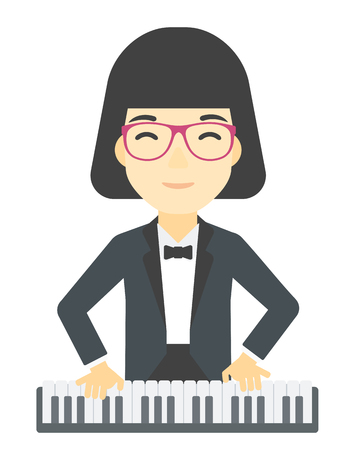 pianoforte: An asian musician playing piano vector flat design illustration isolated on white background. Illustration