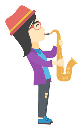 An asian musician playing saxophone vector flat design illustration isolated on white background.