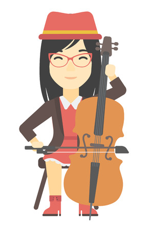 soloist: An asian woman playing cello vector flat design illustration isolated on white background.