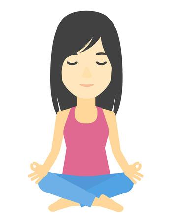elasticidad: Una mujer asi�tica meditando en posici�n de loto ilustraci�n vectorial dise�o plano aislado en el fondo blanco. Vectores