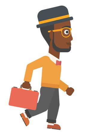 african business man: An african-american businessman with the beard walking with a briefcase vector flat design illustration isolated on white background.