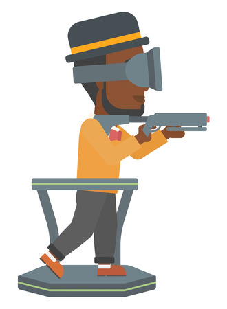 An african-american man wearing virtual reality headset and standing on a treadmill with a gun in hands vector flat design illustration isolated on white background. Illusztráció