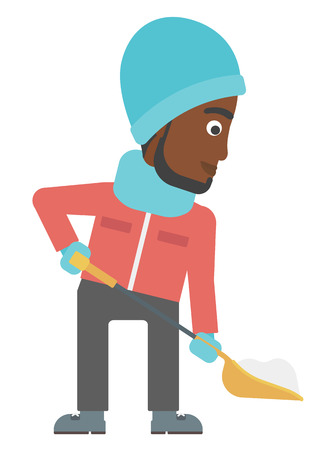 An african-american man shoveling and removing snow vector flat design illustration isolated on white background.