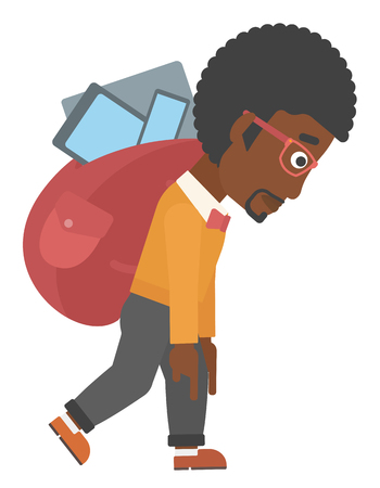 cary: An african-american man walking with a big backpack full of different devices vector flat design illustration isolated on white background.
