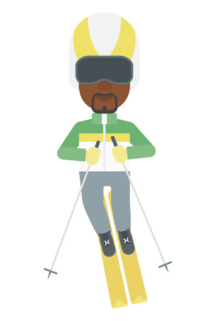 mountainside: An african-american man skiing vector flat design illustration isolated on white background. Illustration
