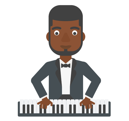 instrument practice: An african-american man playing piano vector flat design illustration isolated on white background. Illustration