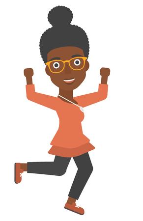 gente saltando: Una mujer de negocios vector ejecutando diseño plano ilustración africano-americanos aislados sobre fondo blanco. Vectores