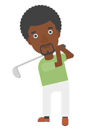 golfer swinging: An african-american golf player hitting the ball vector flat design illustration isolated on white background.