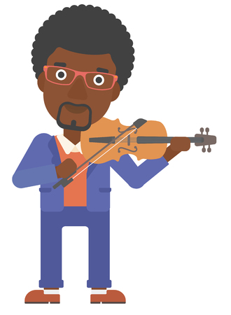 cellist: An african-american man playing violin vector flat design illustration isolated on white background.