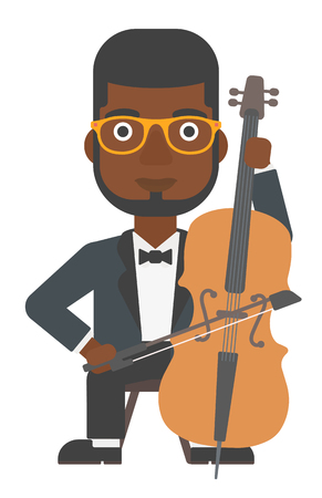 soloist: An african-american man playing cello vector flat design illustration isolated on white background.