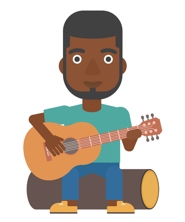 man playing guitar: An african-american man sitting on a log and playing a guitar vector flat design illustration isolated on white background.
