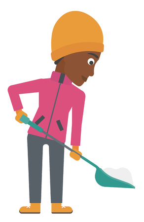 removing: An african-american woman shoveling and removing snow vector flat design illustration isolated on white background.