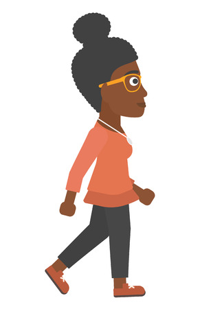 An african-american business woman walking vector flat design illustration isolated on white background.