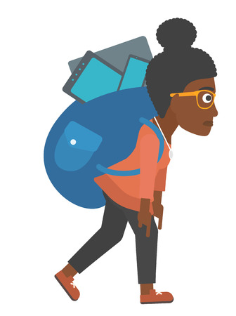 cary: An african-american woman walking with a big backpack full of different devices vector flat design illustration isolated on white background.