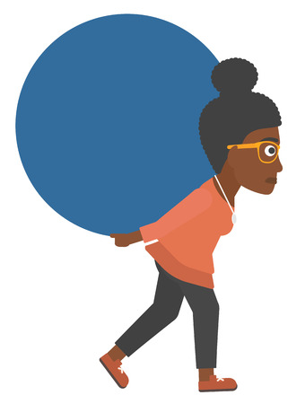 An african-american woman carrying a big ball on her back vector flat design illustration isolated on white background.