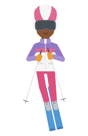 mountainside: An african-american woman skiing vector flat design illustration isolated on white background. Illustration