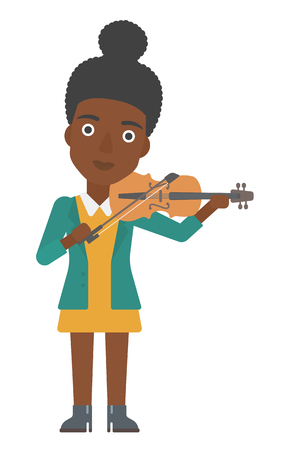 An african-american woman  playing violin vector flat design illustration isolated on white background.