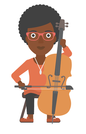 cellist: An african-american woman playing cello vector flat design illustration isolated on white background.