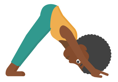 An african-american woman standing in yoga downward facing dog pose vector flat design illustration isolated on white background.