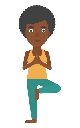 An african-american woman standing in yoga tree pose vector flat design illustration isolated on white background.