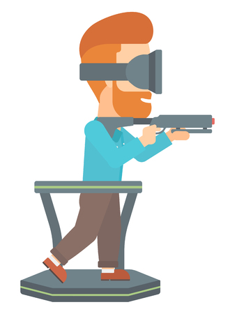 A hipster man with the beard wearing virtual reality headset and standing on a treadmill with a gun in hands vector flat design illustration isolated on white background.