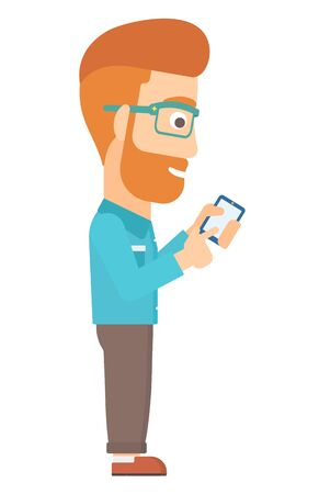 cellphone: A hipster man with the beard using mobile phone vector flat design illustration isolated on white background. Illustration