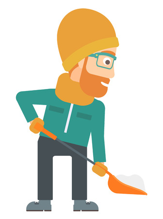 A hipster man with the beard shoveling and removing snow vector flat design illustration isolated on white background. Ilustração