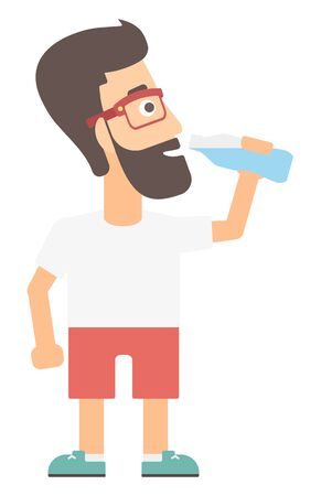 man drinking water: A hipster man with the beard drinking water vector flat design illustration isolated on white background.