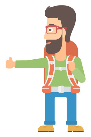 wanderer: A hipster man with the beard hitchhiking trying to stop a car vector flat design illustration isolated on white background.