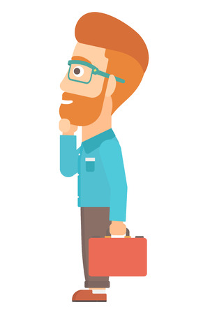 departure board: A hipster man with the beard with briefcase looking at departure board vector flat design illustration isolated on white background. Illustration