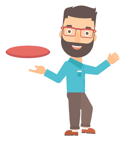 man flying: A hipster man with the beard playing flying disc vector flat design illustration isolated on white background. Illustration
