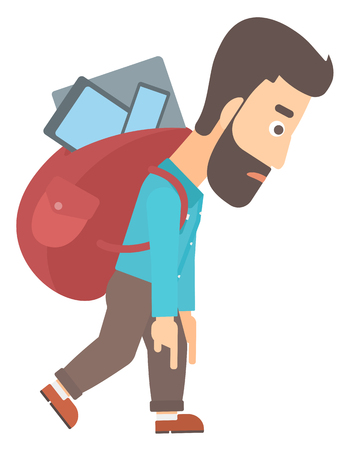 cary: A hipster man with the beard walking with a big backpack full of different devices vector flat design illustration isolated on white background.