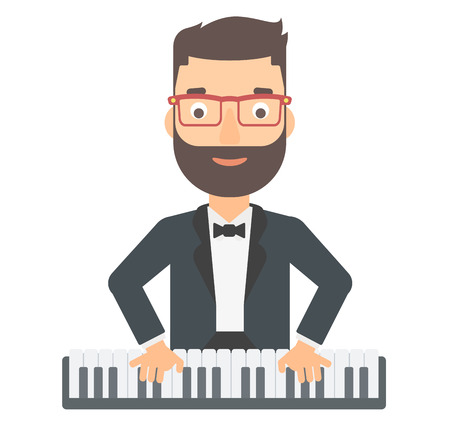 pianoforte: A hipster man with the beard playing piano vector flat design illustration isolated on white background.