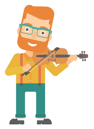 A hipster man with the beard playing violin vector flat design illustration isolated on white background.