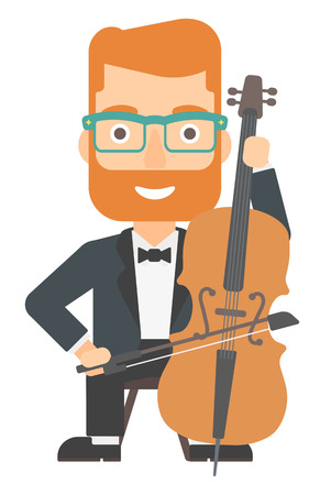 A hipster man with the beard playing cello vector flat design illustration isolated on white background.