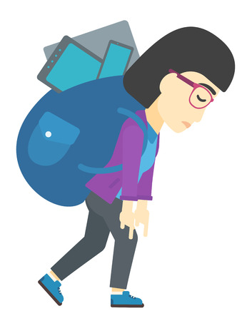 cary: An asian woman walking with a big backpack full of different devices vector flat design illustration isolated on white background.