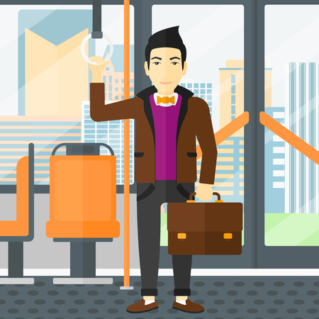 handgrip: An asian man with a suitcase standing inside public transport vector flat design illustration. Square layout.