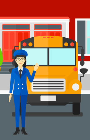 female driver: An asian woman standing in front of yellow bus on the background of the school building vector flat design illustration. Vertical layout. Illustration