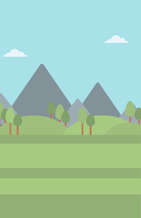 Background of mountain landscape vector flat design illustration. Vertical layout.